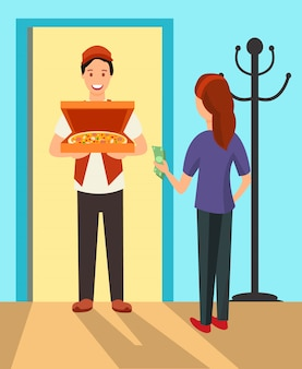 Pizza delivery man at doorway flat characters