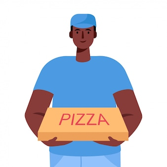 Pizza delivery man holding cardboard box with pizza inside delivery order.