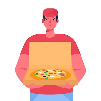 Pizza delivery man holding open cardboard box with pizza inside delivery order.