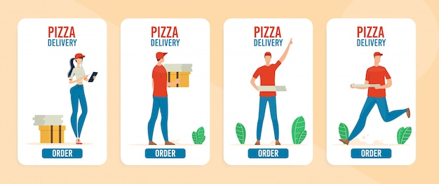 Pizza delivery online service banner set