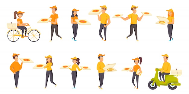 Pizza delivery people character flat set