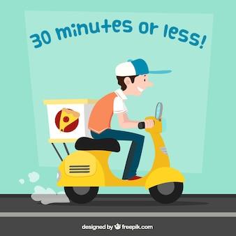 Consegna della pizza su scooter