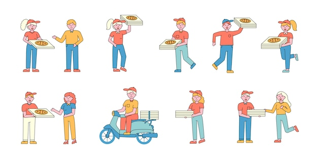 Pizza delivery service flat charers set. people ordering italian snack.
