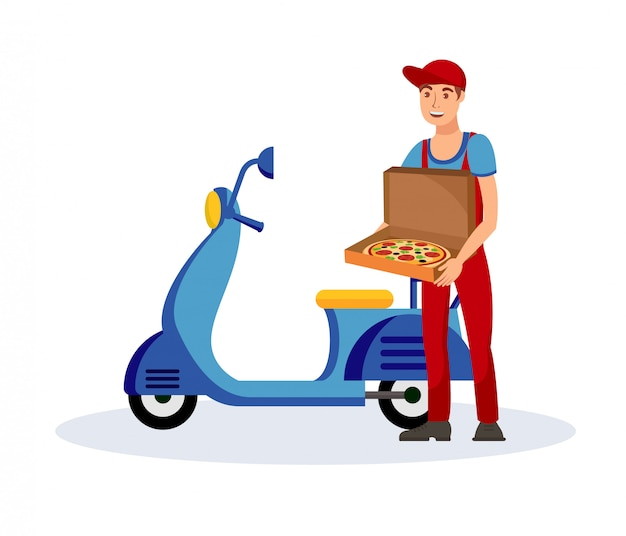 Pizza delivery service flat vector illustration