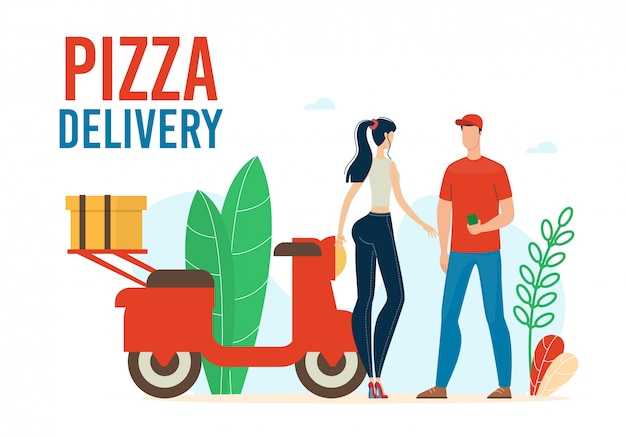 Pizza delivery service illustration