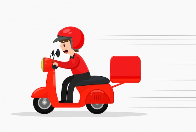 Pizza delivery staff are driving motorcycles quickly.
