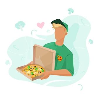 집으로 피자 배달 그 남자는 집으로 피자와 야채를 가져 왔습니다.