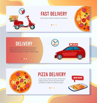 Pizza delivery vector illustration. cartoon flat mobile app banner set with pizza online order in pizzeria shop, courier free express delivering by scooter or car