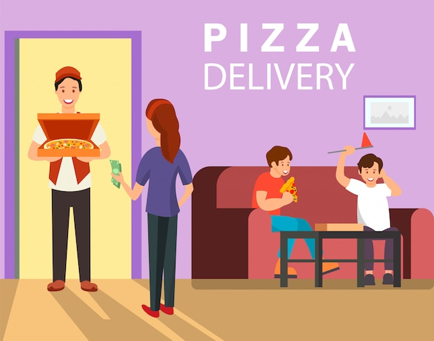 Pizza delivery web banner color vector template
