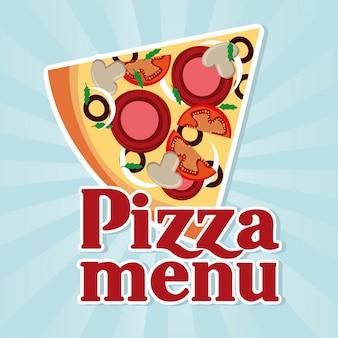 Дизайн пиццы на синем фоне векторных иллюстраций