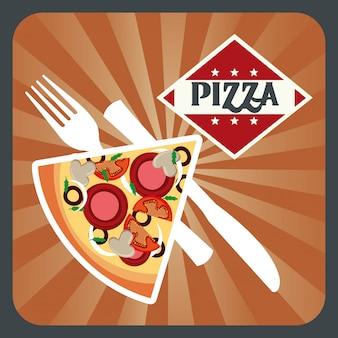 Дизайн пиццы над гранж фон векторные иллюстрации