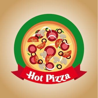 Pizza design over vintage background vector illustration