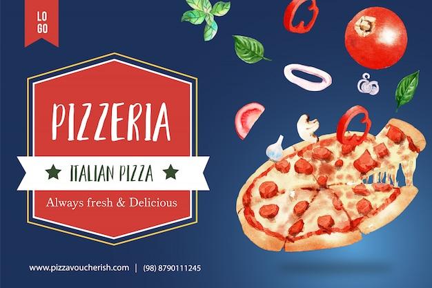 Pizza design with pepperoni pizza watercolor illustration.