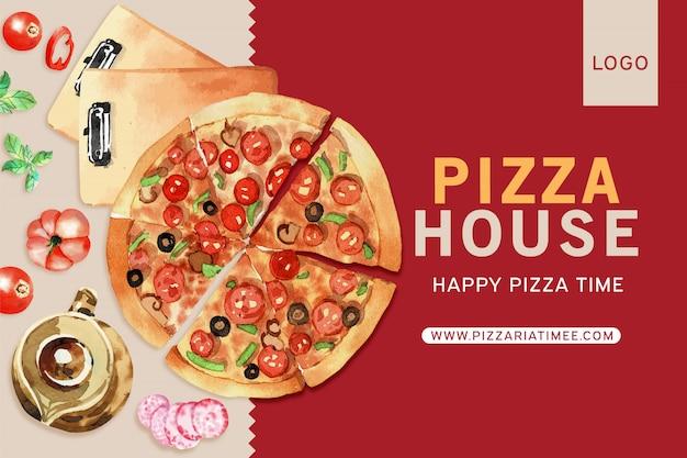 Pizza design with pizza, tea pot watercolor illustration.