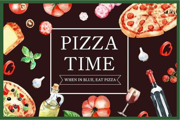 Pizza design with rolling pin, pizza, pumpkin watercolor illustration.