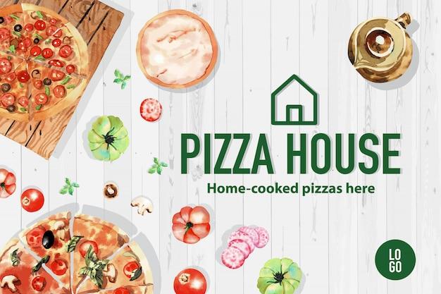 Pizza design with tea pot, pumpkin, pizza  watercolor illustration.