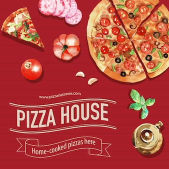 Pizza design with tea pot, salami, tomato watercolor illustration