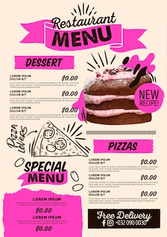 Pizza and desserts digital vertical restaurant menu