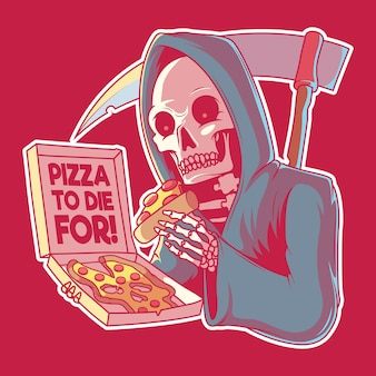 Pizza to die for  illustration. fast food, brand, logo, design concept.