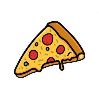 Pizza doodle isolated