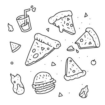 피자 낙서 스타일. 피자 손 그리기 스타일