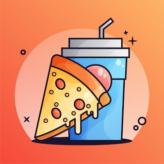 Pizza and drink gradient illustration
