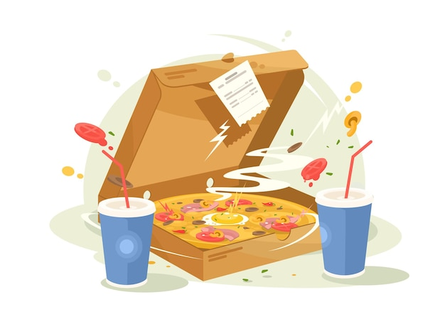 Pizza fast food delicious and fragrant in cardboard box.  illustration