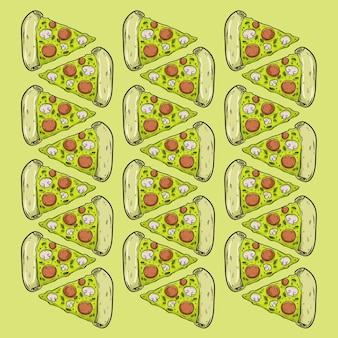 Pizza fast food pattern seamles design background