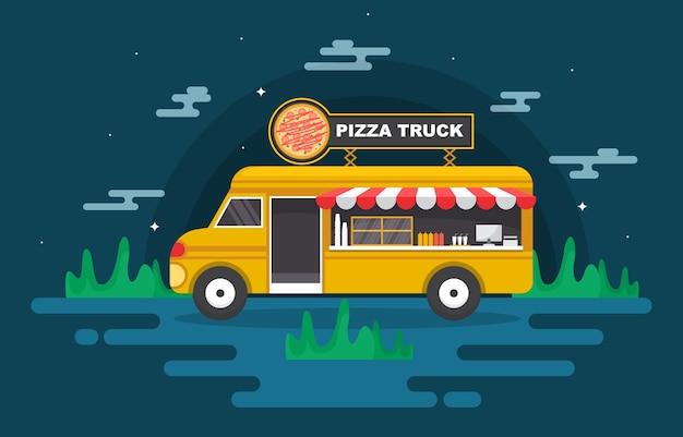 Pizza fast food truck van car vehicle street shop illustration