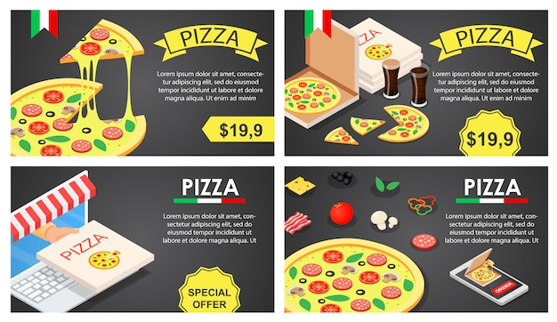 Pizza festival banner concept set, isometric style