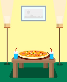 Pizza and fizzy drinks cartoon  illustration