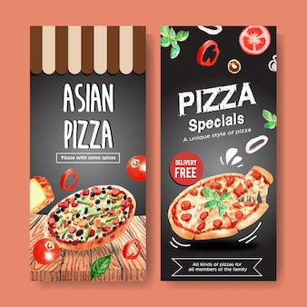 Pizza flyer design with asian pizza, pepperoni pizza watercolor illustration.