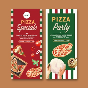 Pizza flyer design with dough, hands, pizza watercolor illustration.