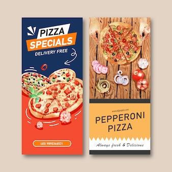 Pizza flyer design with pepperoni pizza, tea pot watercolor illustration.
