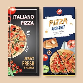 Pizza flyer design with tomato, pizza, cheese watercolor illustration.