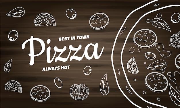 레스토랑 및 카페 피자 음식 배너입니다. 낙서 선화 스타일 템플릿 디자인