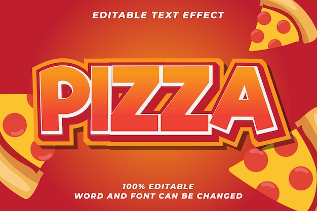Pizza food bold text style effect premium vector