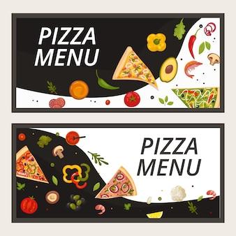 ピッツェリアレストラン、漫画バナーイラストのピザフードメニュー。イタリアのバナーセット、ペパロニ、チーズのピザチラシ。ディナー食事料理ポスターコンセプト、イタリア料理。