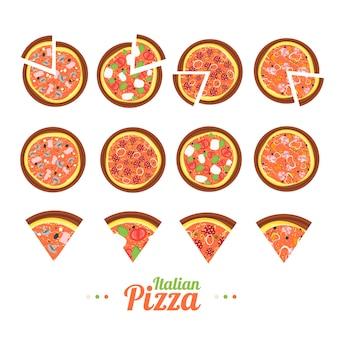 Набор для пиццы на плоский стиль дизайна