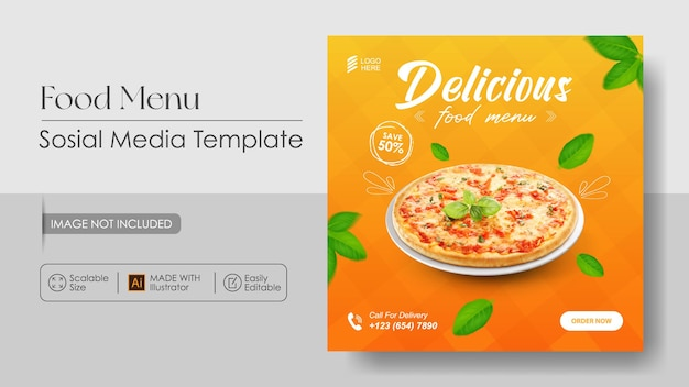 Pizza food sosial media promotion and instagram design template