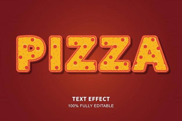 Текстовый эффект стиля еды пиццы, редактируемый текст