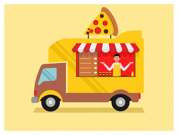 Pizza food truck in flat design style