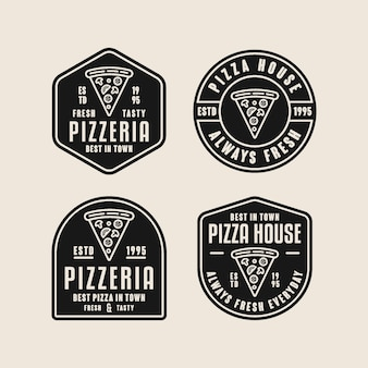 Pizza fresh and tasty logo collection