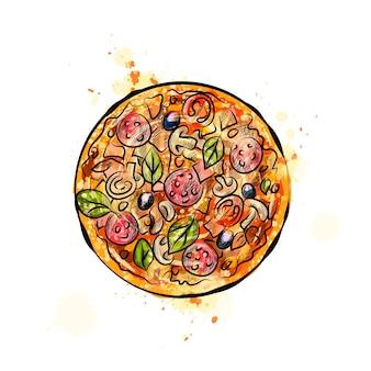 水彩のスプラッシュからピザ、手描きのスケッチ。塗料のイラスト