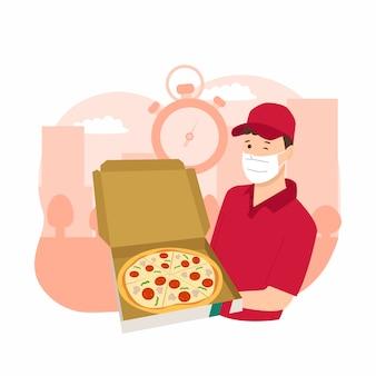 ピザ男配達速達。ピザの箱を持って男。コロナウイルスパンデミック配信サービス。フードサービスアプリケーションの設計。