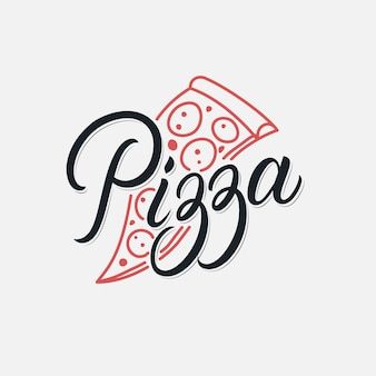 Pizza hand written lettering logo restaurant, pizzeria, cafe. vintage retro style. modern calligraphy, typography.  .