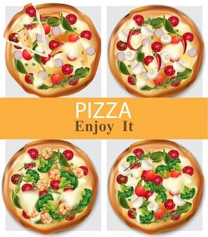 Пицца здоровой пищи реалистичный вектор