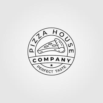 Pizza house bread line art logo design illustration