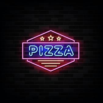 Неоновые вывески пиццерии. дизайн шаблона в неоновом стиле