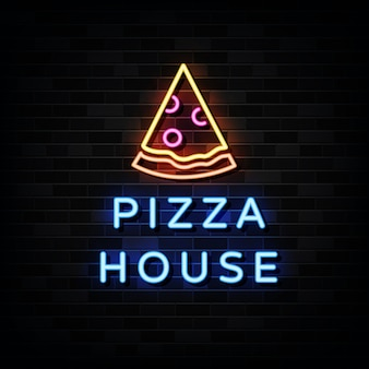 Pizza house neon signs . design template neon style